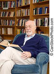 czytanie, człowiek, senior