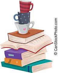 czytanie, wolny czas, książki, długi, filiżanki, stóg