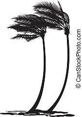 dłoń, wiatr, drzewa