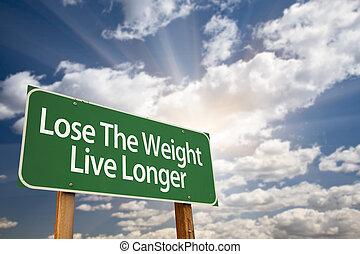 dłuższy, ciężar, znak, żywy, zielony, zgubić, droga