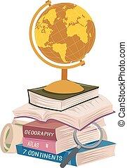 długi, książki, ilustracja, czytanie, stóg, geografia