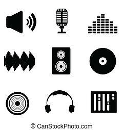 dźwiękowy, głos muzyka, ikony