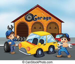 dżentelmeni, garaż, narzędzia, dwa