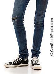 dżinsy, czarnoskóry, retro, tło, sneakers, biały, nogi