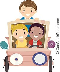 dżonka, dzieciaki, sztuka, wóz, ilustracja, stickman