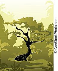 dżungla, drzewo, zielony