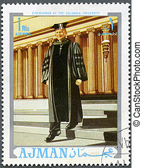 d., ajman, dwight, columbia, (1890-1969), uniwersytet, tłoczyć, -, 1970, drukowany, prezydent, circa, eisenhower, 1970:, widać