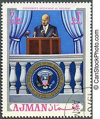 d., ajman, dwight, spotkanie, (1890-1969), tłoczyć, -, 1970, drukowany, prezydent, prezydent, circa, eisenhower, 1970:, widać