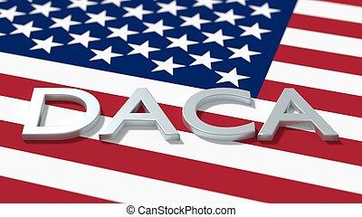 daca, amerykanka, imigracja, słowo, pojęcie, bandera