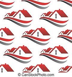 dachy, dom, seamless, czerwony, próbka