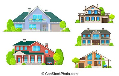 dachy, zabudowanie, okna, dom dom, albo, drzwi