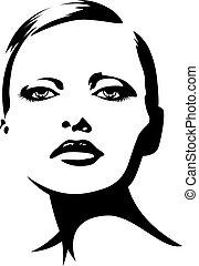 dama, młody, ilustracja