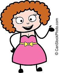 dama, rysunek, młody, ilustracja, szczęśliwy