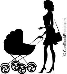 dama, rzutki, sylwetka, wózek