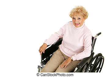 dama, wheelchair, senior, poziomy