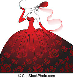 dama, wieczorny strój, czerwony