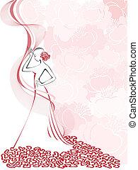 damski, różowy, sylwetka