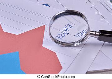 dane, analizując, finansowy, szkło., powiększający