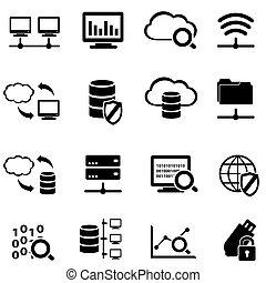 dane, cielna, obliczanie, komplet, ikona, chmura