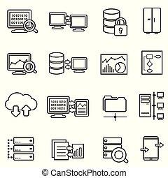 dane, ikony, cielna, analiza, bezpieczeństwo, dane, kreska