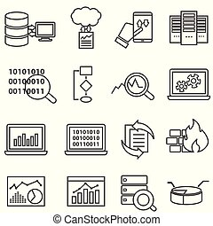 dane, ikony, cielna, analiza, maszyna, nauka, kreska, dane
