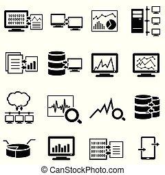 dane, ikony, cielna, obliczanie, komputer, sieć, chmura