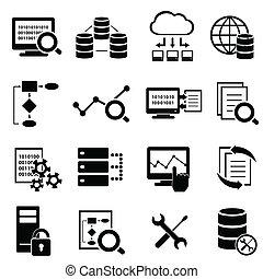 dane, ikony, cielna, obliczanie, technologia, chmura