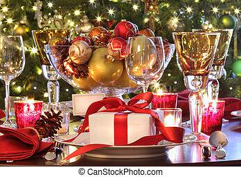 dar, święto, stół, czerwony, zmontowanie, ribboned