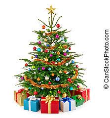 dar, barwny, drzewo, soczysty, kabiny, świeży, boże narodzenie