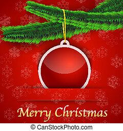 dar, drzewo, bauble, wisząc, święto, kartka na boże narodzenie
