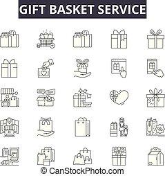 dar, illustration:, sprzedaż, szkic, pojęcie, vector., handlowy, znaki, kreska, ikony, kosz, pieniądze, zaopatrywać, służba, torba, doręczenie, handel, komplet, dyskonto, dar