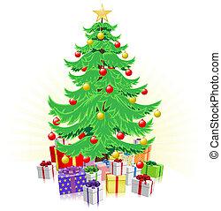 dary, drzewo, boże narodzenie, ilustracja