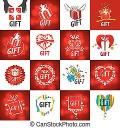 dary, logos, wektor, zbiór, najpoważniejszy