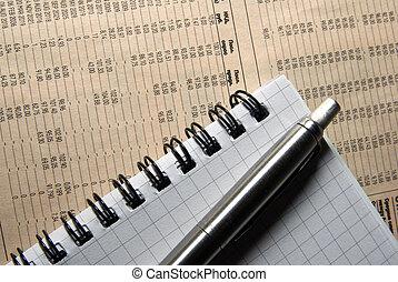 data., finansowy, kładąc, pióro, notatnik, gazeta