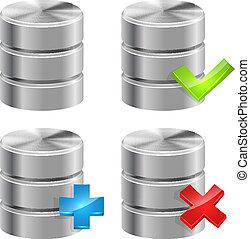 database, ikony, odizolowany, metaliczny, tło., biały