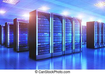 datacenter, pokój, wewnętrzny, urządzenie obsługujące