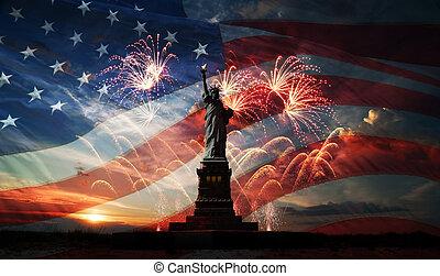day., świat, swoboda, oświecając, niezależność