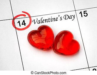day., strona, kalendarz, serca, 14, święty, czerwony, list miłosny, luty