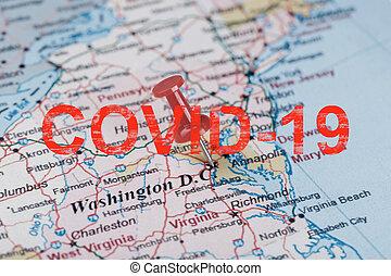 dc, czerwony, napis, stany, strzała, południowy, covid-19, kapitał, klerykalny, waszyngton, richmond., mapa, zjednoczony
