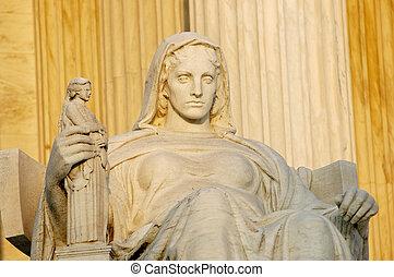 dc., najwyższy, kontemplacja, sprawiedliwość, na, waszyngton, statua, dziedziniec, nazwany