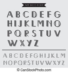deco, sztuka, rocznik wina, -, typografia, wektor, chrzcielnica, eps10, typ