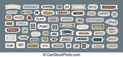 decoration., codzienny, sticker., komplet, zbiór