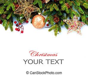 decoration., odizolowany, tło., projektować, ozdoby, biały, święto, brzeg, boże narodzenie