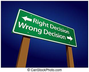 decyzja, decyzja, ilustracja, znak, krzywda, dobry, zielony, droga