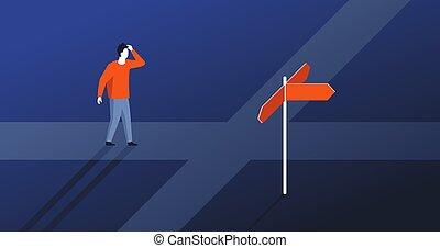decyzja, wybierając, kierunek, zrobienie, dobry
