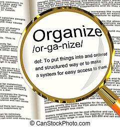 definicja, organizować, dyrekcyjny, rozmieszczając, szkło powiększające, albo, budowa, widać