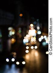 defocus, światła, bokeh, ulica, tło.