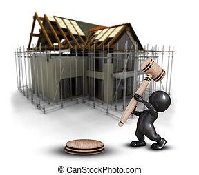 defocussed, dom, morph, przeciw, człowiek, wizerunek, 3d, pod, gavel, zbudowanie