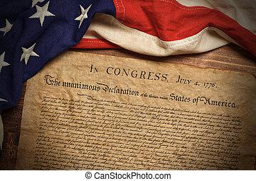 deklaracja, niezależność, bandera, amerykanka, rocznik wina, stany, zjednoczony