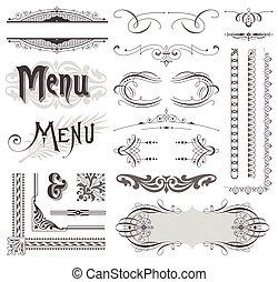 dekoracyjne elementy, &, calligraphic, wektor, projektować, ozdoby, ozdobny, strona